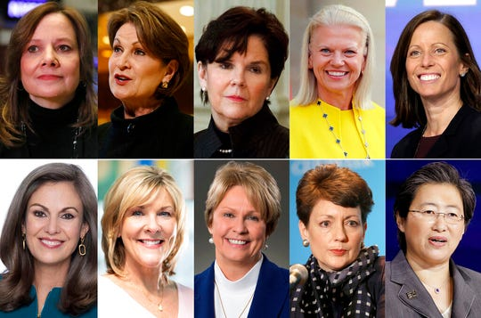 This photo combination show the 10 highest-paid female CEOs for 2018, as calculated by The Associated Press and Equilar, an executive data firm. Top row, from left: Mary Barra, General Motors, $21.9 million; Marillyn Hewson, Lockheed Martin, $21.5 million; Phebe Novakovic, General Dynamics, $20.7 million; Virginia Rometty, IBM, $17.6 million; and Adena Friedman, Nasdaq, $14.4 million. Bottom row, from left: Mary Dillon, Ulta Beauty, $14.2 million; Tricia Griffith, Progressive, $14.2 million; Vicki Hollub, Occidental Petroleum, $14.1 million; Lynn Good, Duke Energy, $13.8 million; and Lisa Su, Advanced Micro Devices, $13.4 million.