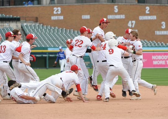 St. Mary's Preparatory players celebrate the game winning hit by Alex Mooney.