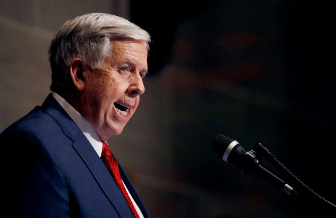 In this Jan. 16, 2019, file photo, Missouri Gov. Mike Parson delivers his State of the State address in Jefferson City, Mo. Parson has signed one of the nation's most restrictive abortion bills on Friday, May 24, 2019, banning the procedure on or beyond eight weeks of pregnancy.