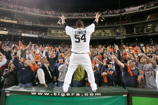 Joel Zumaya celebrates with the fans at Comerica Park after the Tigers defeated the Yankees in the ALDS in 2006.
