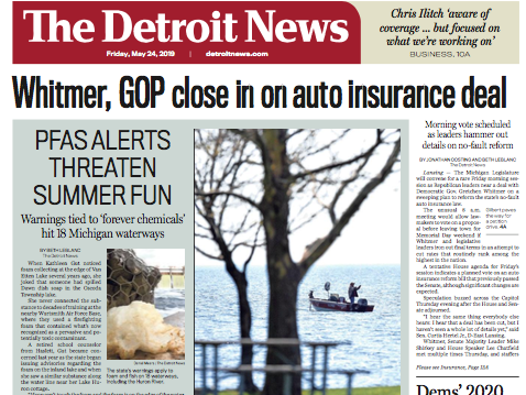 The front page of The Detroit News on Friday, May 24, 2019.