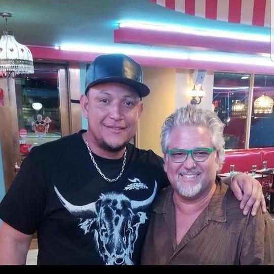 Detroit Tigers first baseman Miguel Cabrera, left, and diner owner Mark Zarkin.