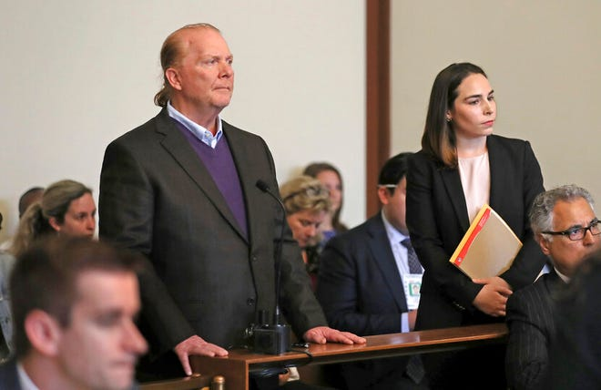Chef Mario Batali is arraigned on a charge of indecent assault and battery in Boston Municipal Court in connection with a 2017 incident at a Boston restaurant, Friday, May 24, 2019, in Boston.