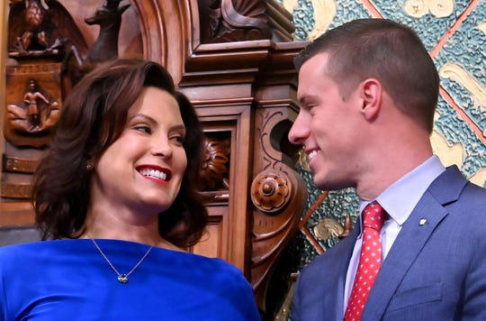 Gov. Gretchen Whitmer speaks with Speaker of the House Lee Chatfield before her State of the State speech in this file photo from Tuesday, February 12, 2019.