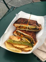 The Nu Veggie Tikka sandwich from Nu Deli food truck has tandoori-roasted vegetables with Indian slaw and cheese.