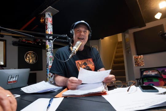 Six years after Drew Lane, shown, and Mike Clark were replaced at WRIF-FM (101.1), and more than 3 years later after Lane left a sports station, he's building a podcast hub in a Ferndale basement.