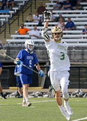 Jared Butler of Vestal celebrates a goal during a 15-13 win over Horseheads in the Section 4 Class B boys lacrosse final May 23, 2019 at Corning Memorial Stadium.