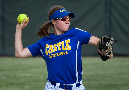 Castle's Hannah Hood (24) makes a infield play as the Gibson Southern Titans play the Castle Knights in the Girls Softball Class 4A Sectionals played at North High School Thursday, May 23, 2019.