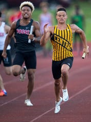 Central's Jalen Bowman (right) anchors the first-place 4x100 relay in the Central Regional track and field meet.