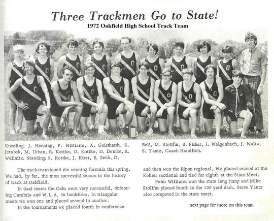 Because the track season ended on graduation day, the 1972 team was featured in the 1973 Oakfield yearbook