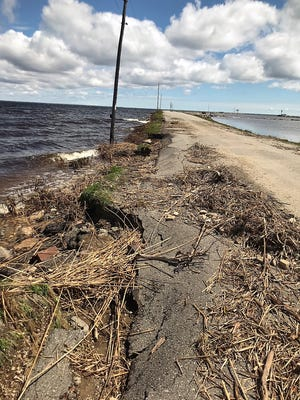 The north side of the causeway at Oconto Harbor suffered erosion damage May 18-19 from heavy winds driving high water into the structure. The causeway has been closed to traffic all week for repairs but is expected to open later today, May 24, for the weekend.
