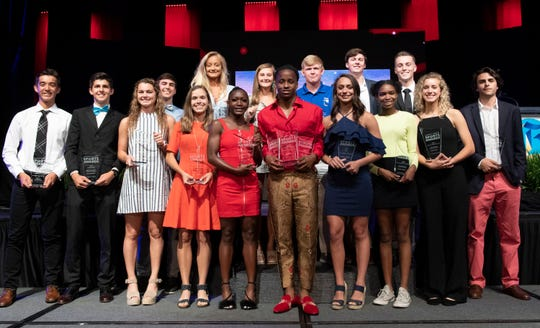 Winners of the Greenville News Upstate Sports Awards stand for a photo after the awards held at the Greenville Convention Center Thursday, May 23, 2019.