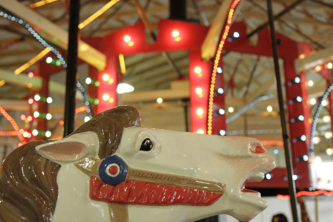 The carousel features many different animals such as horses, giraffes, a zebra and more.