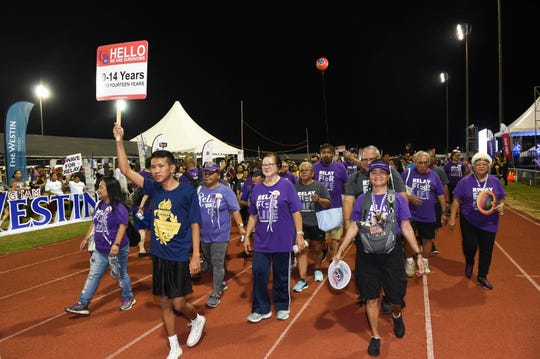 Cancer survivors and caregivers take their victory lap during the Relay for Life of Guam at the George Washington High School Field in Mangilao in this May 24, 2019, file photo. The American Cancer Society is asking for the community's support during #GivingTuesdayNow.