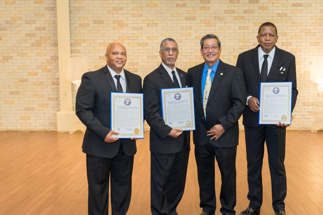 The convention culminated with the Honorable Joe S. San Agustin, Senator presenting proclamations to WM Kevin D. Manns, MWGM Lester L. Dickson and to DDGM Clifton Claybrooks in recognition of the Prince Hall Masonic Family charitable work over the 60 years of its existence.
