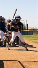 Jathan Sibal takes batting practice during a game with the Barstow Vikings.