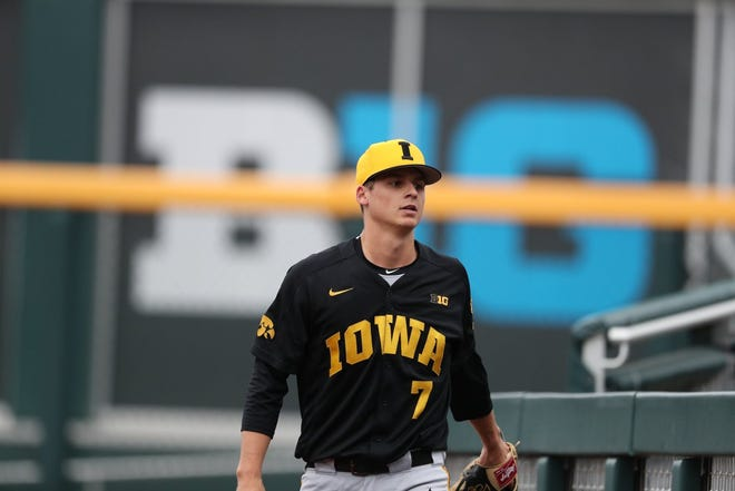 Iowa starter Grant Judkins struggled in Friday's Big Ten Tournament game against Nebraska at TD Ameritrade Park in Omaha. Judkins recorded just four outs.