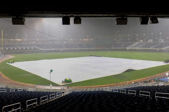 Rainy weather throughout the day and into Thursday night at TD Ameritrade Park has postponed Iowa's Big Ten Tournament game against Nebraska.