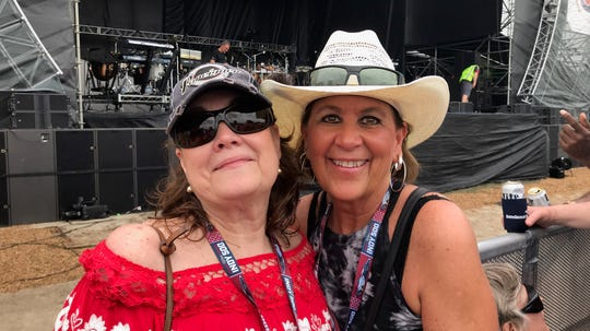 Marcy Starner, left, and Cindy Cook at Indy 500 Carb Day on Friday, May 24, 2019.