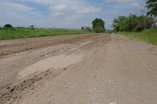 Rain water pools in rut tracks on Turner Avenue NE on Friday, May 24.