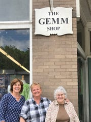 From left, Gemm Shop board members Karen Powers, Gail Zabawsky and Pat Ditmars are working with the board to plan the shop's 50th anniversary next year.