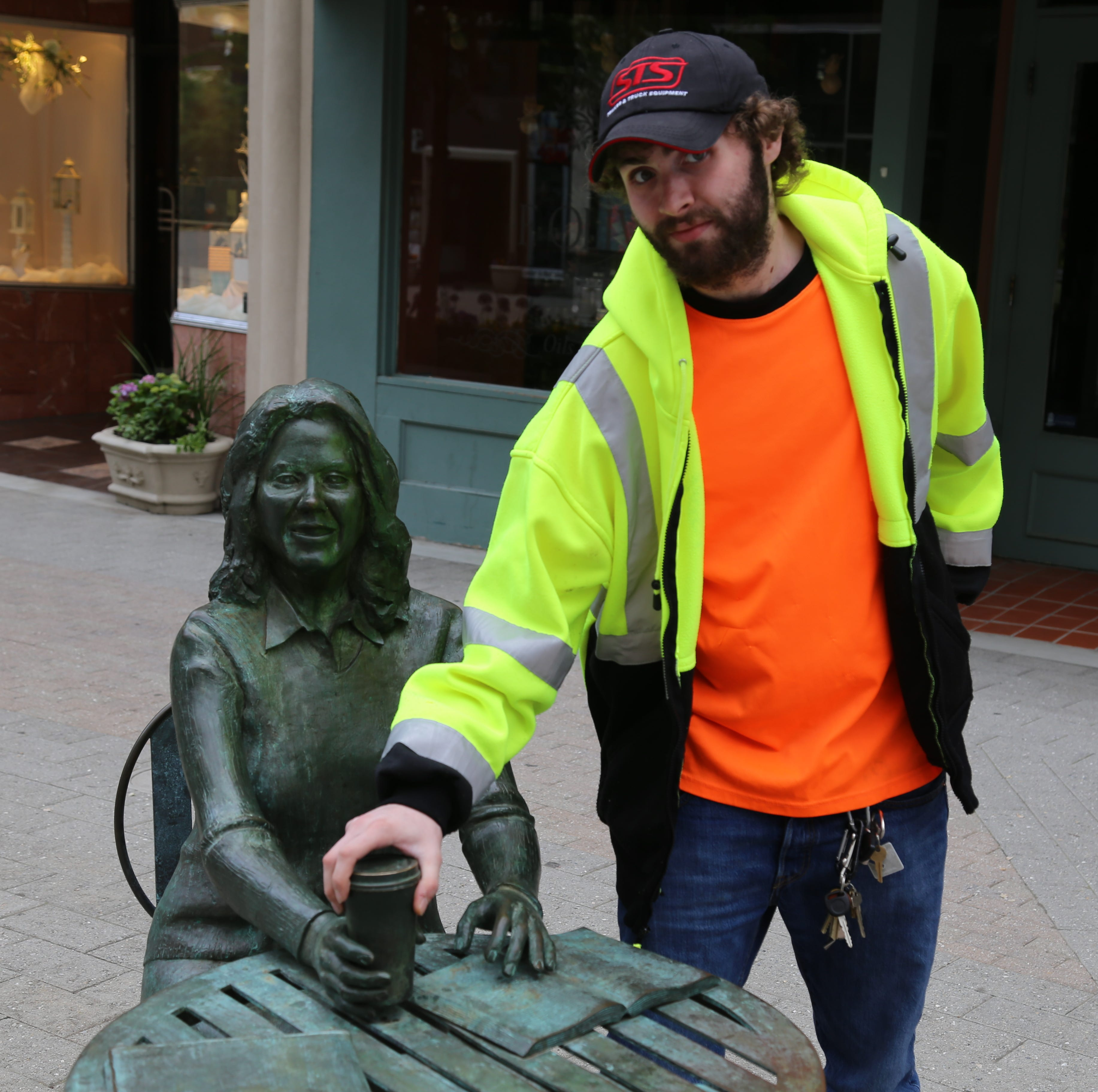 This worker thought he saw a coffee cup. It turned out to be a missing statue piece.