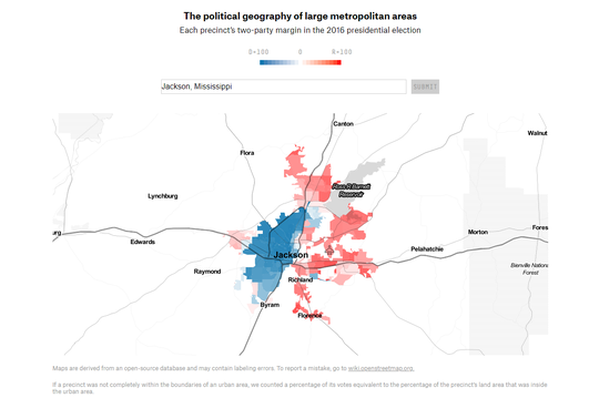 This screenshot of a FiveThirtyEight map shows the Jackson area's political segregation, the most concentrated in the country.