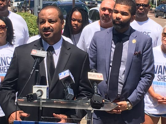 Lee Vance, former Jackson police chief, left, accepts an endorsement from  Jackson Mayor Chokwe Antar Lumumba  for Hinds County sheriff on Friday, May 24, 2019, during a news conference at the Hinds County Courthouse.