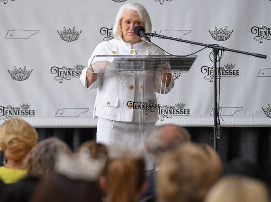 Miss Tennessee Volunteer Executive Director Jane Alderson thanks volunteers who helped with continuing the pageant in Jackson. Christine Williamson was officially crowned the inaugural Miss Tennessee Volunteer at the Carl Perkins Civic Center on May 24, 2019.