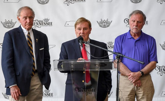 Miss Tennessee Volunteer Scholarship Pageant producer Jimmy Exum stands with Jackson City Mayor Jerry Gist and Madison County Mayor Jimmy Harris during the coronation of Christine Williamson, who was officially crowned the inaugural Miss Tennessee Volunteer at the Carl Perkins Civic Center on May 24, 2019.