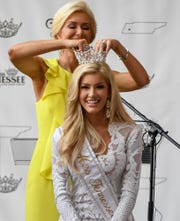 Allison DeMarcus officially crowns Christine Williamson as the inaugural Miss Tennessee Volunteer at the Carl Perkins Civic Center, Friday, May 24, 2019.