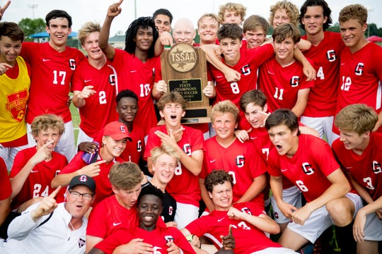 Grace Christian celebrates their victory over Gatlinburg-Pittman in a Class A championship soccer match at the TSSAA state championships in Murfreesboro, Tennessee on Friday, May 24, 2019.