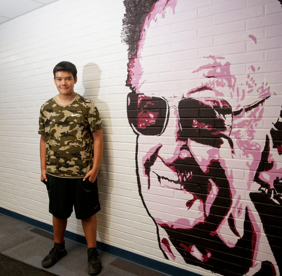 Mural of Marvel's Stan Lee showcases a TSC 7th grader's talents