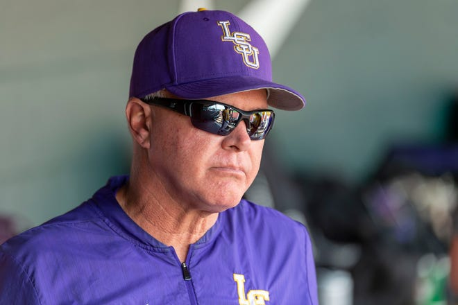 LSU head coach Paul Mainieri paces in the dugout during an LSU at Alabama NCAA college baseball game, Sunday, April 28, 2019, in Tuscaloosa, Ala. (AP Photo/Vasha Hunt)