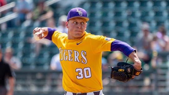 LSU pitcher Trent Vietmeier pitches during an LSU at Alabama NCAA college baseball game, Sunday, April 28, 2019, in Tuscaloosa, Ala. (AP Photo/Vasha Hunt)