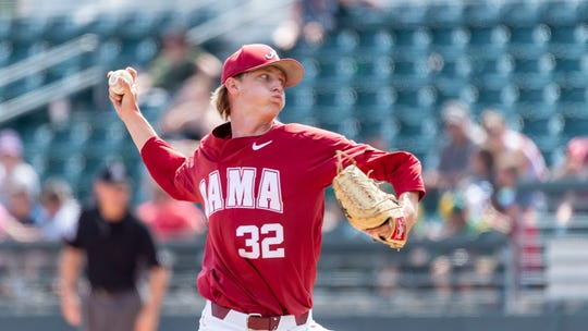 Alabama pitcher Deacon Medders pitches during an LSU at Alabama NCAA college baseball game, Sunday, April 28, 2019, in Tuscaloosa, Ala. (AP Photo/Vasha Hunt)