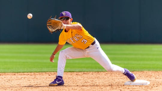LSU infielder Hal Hughes covers second during an LSU at Alabama NCAA college baseball game, Sunday, April 28, 2019, in Tuscaloosa, Ala. (AP Photo/Vasha Hunt)