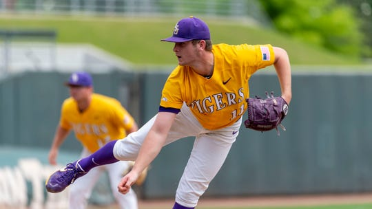 LSU pitcher Landon Marceaux pitches during an LSU at Alabama NCAA college baseball game, Sunday, April 28, 2019, in Tuscaloosa, Ala. (AP Photo/Vasha Hunt)