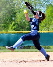Livonia Stevenson pitcher Sophie Bater held Howell to one run through four innings in the KLAA softball championship game in Novi on Thursday, May 23, 2019.