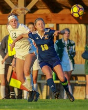 Lauren Way (16) scored one of Hartland's goals in a 4-1 district soccer victory over Howell.