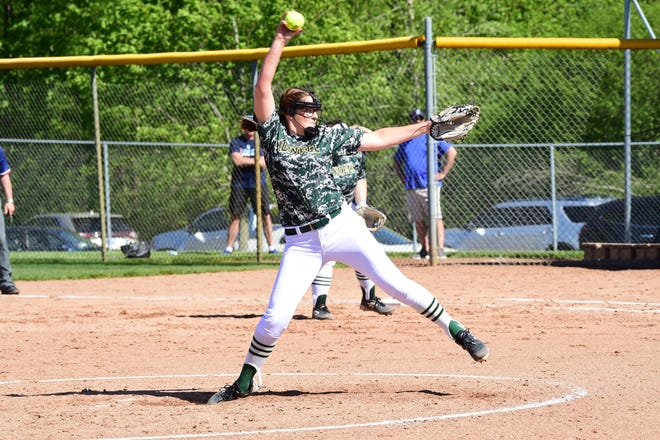 Howell's Molly Carney struck out 12 Livonia Stevenson batters in five innings before leaving with an ankle injury during the KLAA softball championship game at Novi on Thursday, May 23, 2019.
