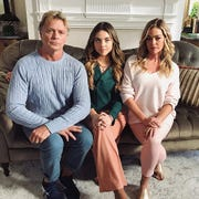"""John Schneider, Madeleine Byrne Denise Richards  in a scene from the feature film """"Switched """"filming in Louisville"""