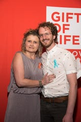 Michele Rudd joins Jakob Gillberg at a May 9, 2019 Gift of Life Marrow Registry event. Gillberg donated bone marrow to Rudd who had leukemia.