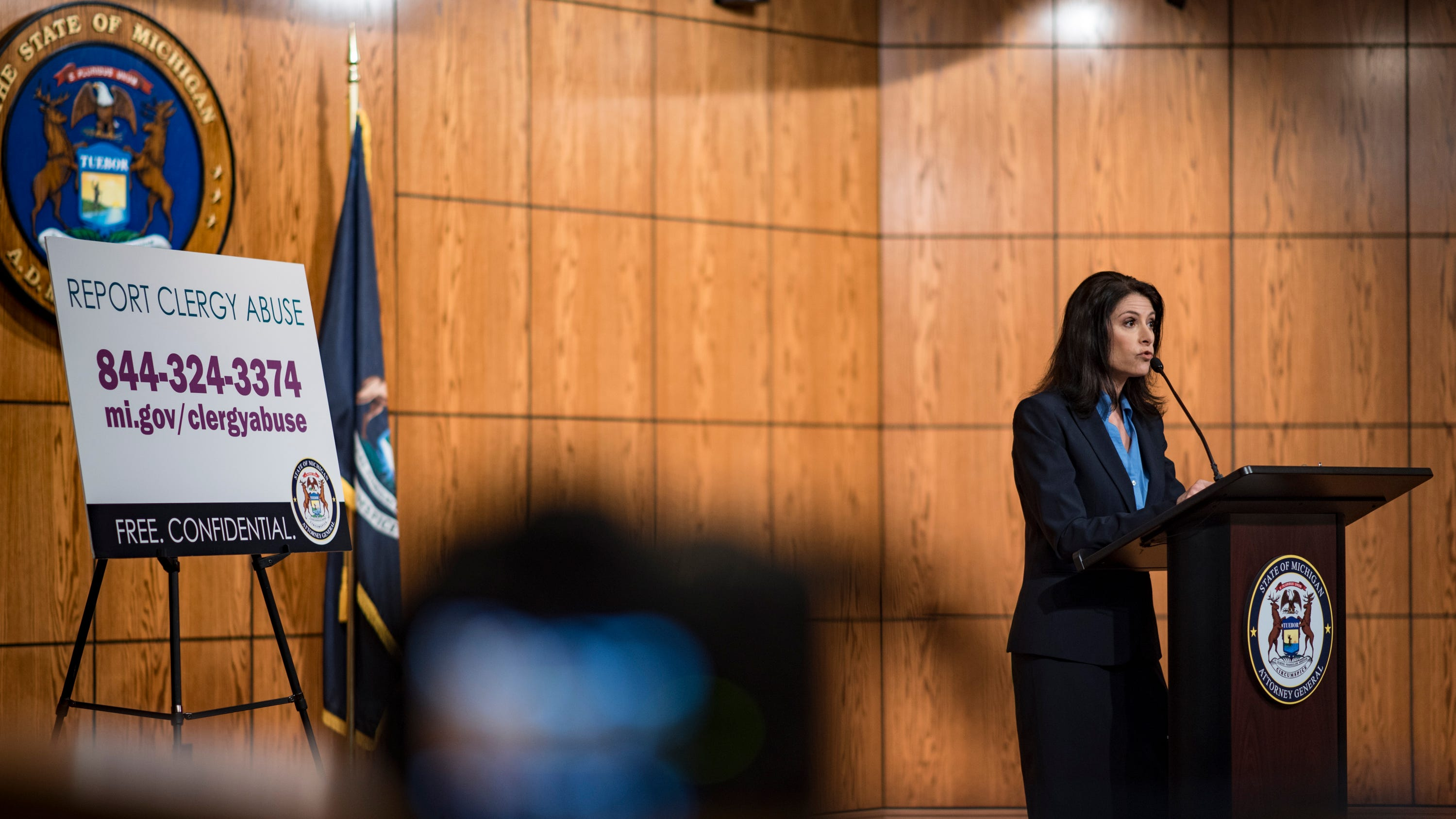 """This is just the tip of the iceberg,"" Michigan Attorney General Dana Nessel says Friday. May 254, 2019, during a presser in Lansing, after announcing five former Michigan priests have been charged with a total of 21 counts of criminal sexual conduct."