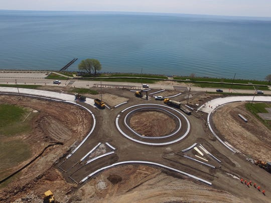 City of Manitowoc shared this aerial image of the progress of the roundabout construction at Maritime Drive/Memorial Drive/Waldo Boulevard.