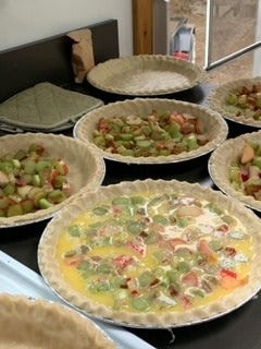 Lovina's friend, Ruth Boss, shares the rhubarb custard pie recipe that was used for pies served at an Amish wedding.