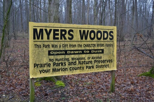 Charlton Myers and his family donated five acres near Killdeer Plains that became Myers Woods. which is maintained by the Marion County Park District.