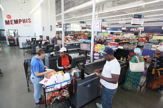 Shoppers visit the Save A Lot grocery store in the Binghampton Gateway Center. The grocery store will close June 30, but officials say a new grocery store may quickly take over the space.