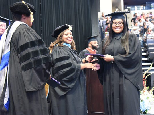 Southwest Tennessee Community College President Tracy D. Hall presents degrees at the 2019 Southwest Tennessee Community College graduation on May 11.
