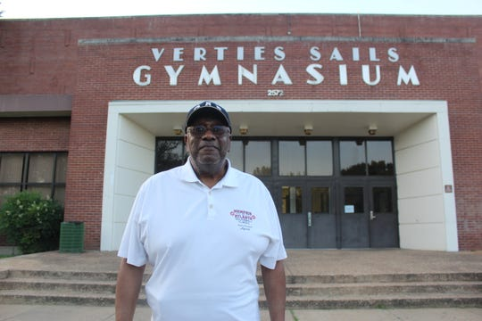 Verties Sails, 77, stands outside of the Orange Mound Community center where gymnasium that was named after his decorated basketball career in Memphis.